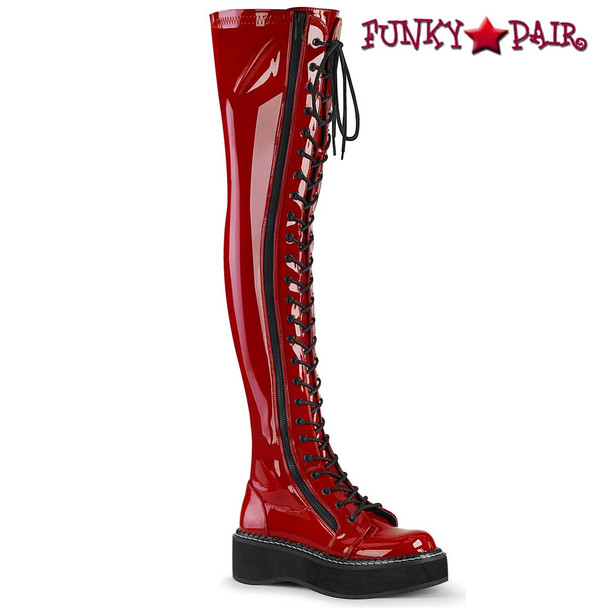 Red Goth Punk Thigh High Boots by Demonia Emily-375