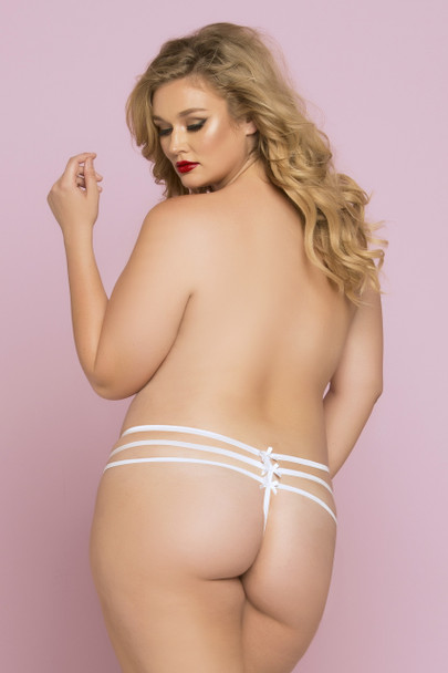 Plus Size Lace Thong with Strappy Detail STM-10763X