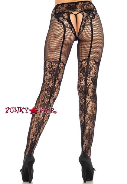 Women Black Lace Crotchless Tights | Leg Avenue LA1936 back view