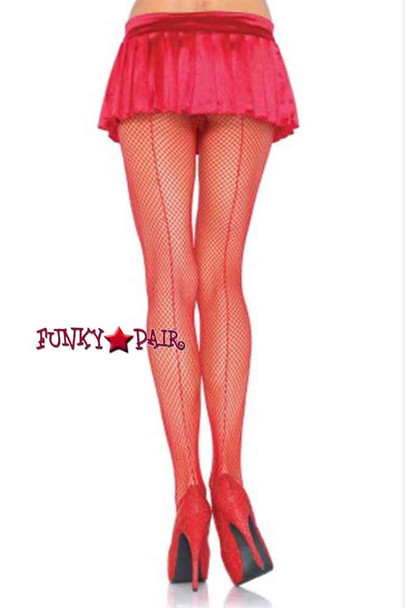 9015, Fishnet Pantyhose with Backseam Color red brand Leg Avenue