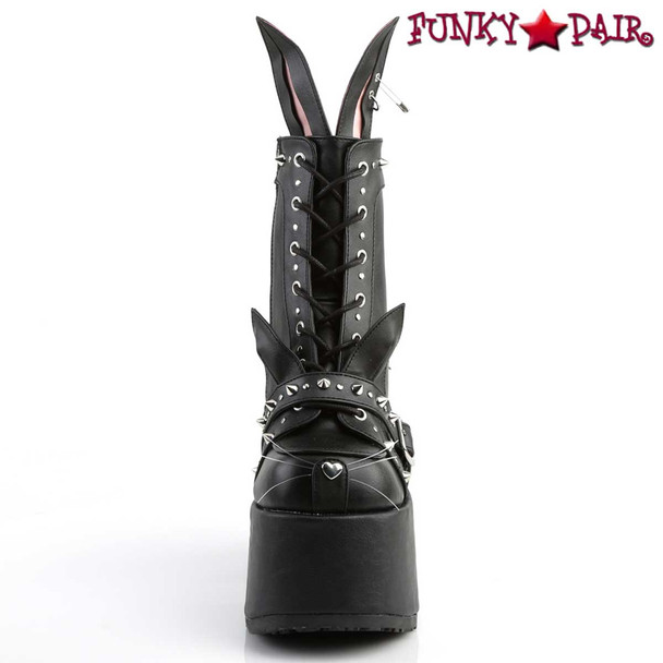 Camel-202, Bunny Ear Design Boots by Demonia Front View