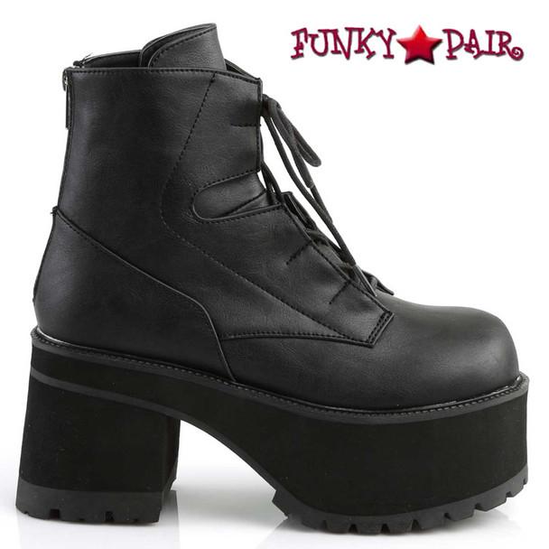 Demonia Ranger-102, Vegan Chunky Heel Platform Ankle Boots