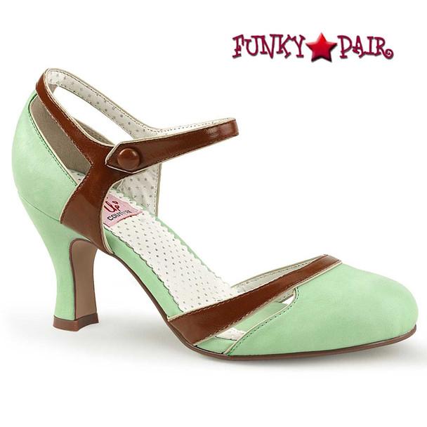 Mint Flapper-27, Kitten Heel D'orsay Pump   PinUp Shoes