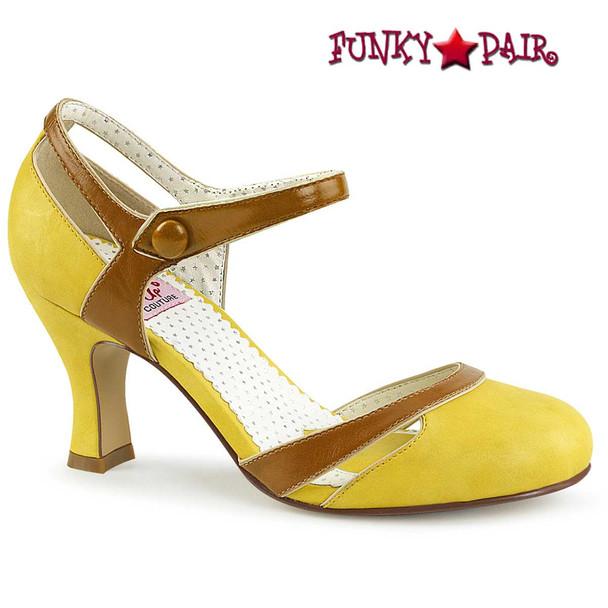 Flapper-27, Kitten Heel D'orsay Yellow Pump