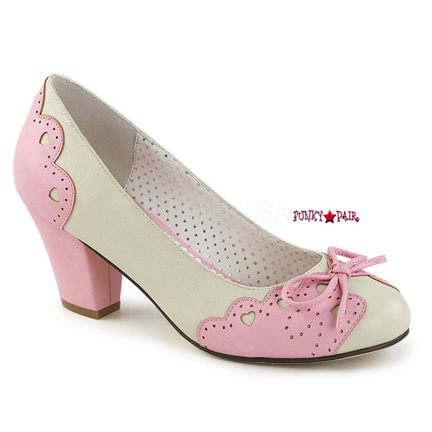 Wiggle-17, Cuben Heel Pump with Bow Accent   Pin-Up Shoes color cream/baby pink