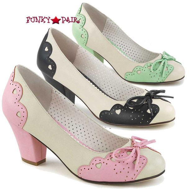 Pin-Up Shoes   Wiggle-17, 2.5 Inch Cuben Heel Pump with Bow Accent