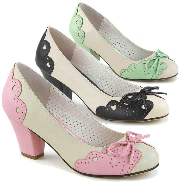 Wiggle-17, Cuben Heel Pump with Bow Accent   Pin-Up Shoes