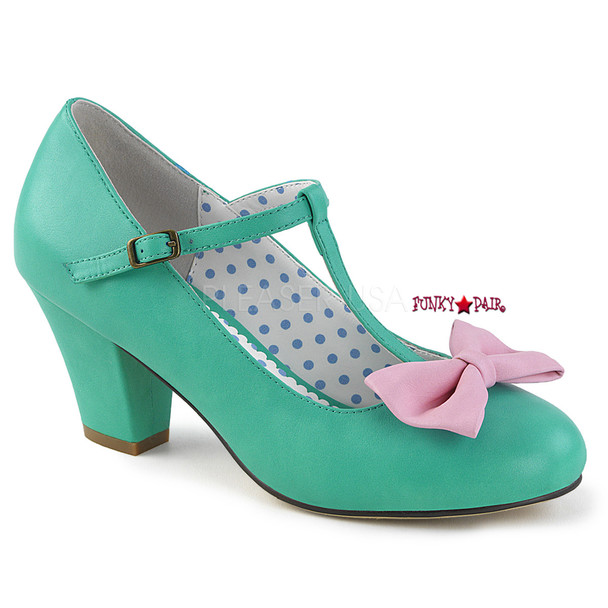 Wiggle-50, Teal Cuben Heel T-strap Pump | Pin-Up Couture