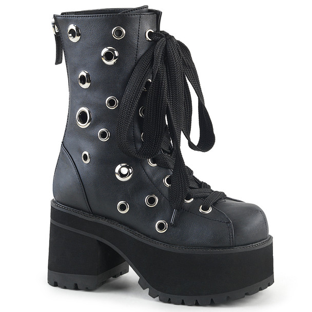 Ranger-310, Goth Chunky Heel Eyelets Ankle Boots by Demonia