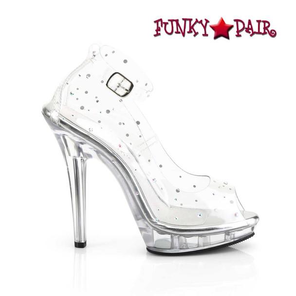 "Fabulicious | Lip-183, 5"" Clear Peep Toe Ankle Strap Pump"