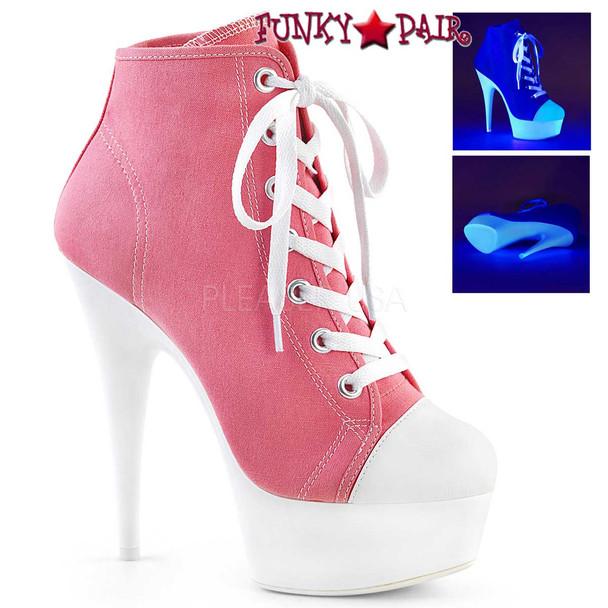 Pleaser   Delight-600SK-2, Neon Platform Canvas Sneaker Available Color: Pink