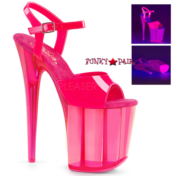 Pleaser | Flamingo-809UVT, Platform Sandal with UV Reactive