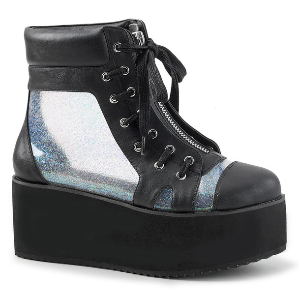Grip-102, See-Through Panels Platform Ankle Boots by Demonia
