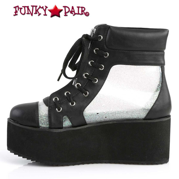 Grip-102, Platform Ankle Boots See-Through Panels by Demonia Side View