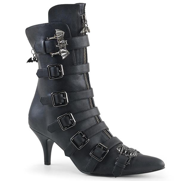 Fury-110, Gothic Winklepicker Bat Buckle Ankle Boots by Demonia
