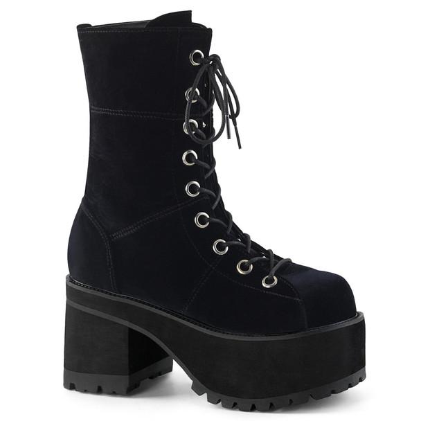 Goth Chunky Heel Velvet Ankle Boots by Demonia Ranger-301S