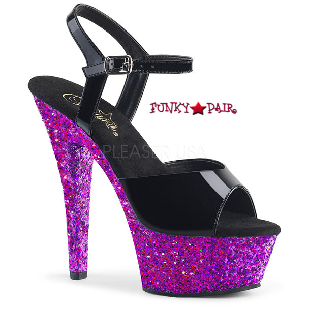 Kiss-209LG, 6 Inch Ankle Strap Sandal with Purple Glitter Platform