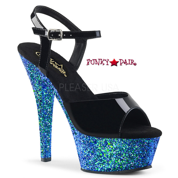 Kiss-209LG, 6 Inch Ankle Strap Sandal with Blue Glitter Platform