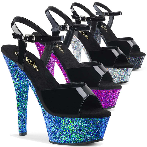 Kiss-209LG, 6 Inch Ankle Strap Sandal with Glitter Platform Pleaser Shoes