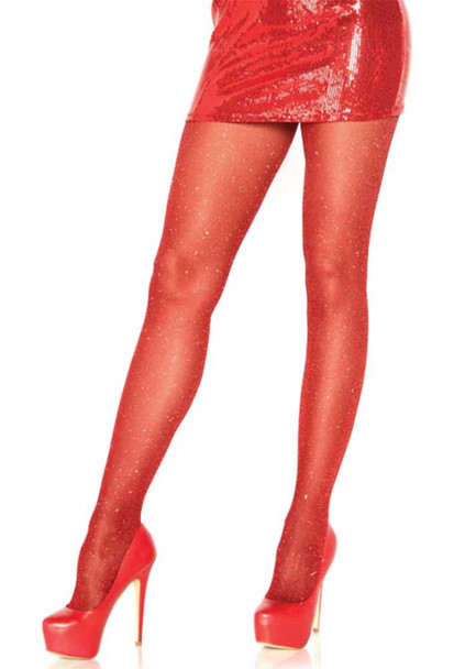 Lurex Red Shimmer Sparkle Tights by Leg Avenue LA7130,