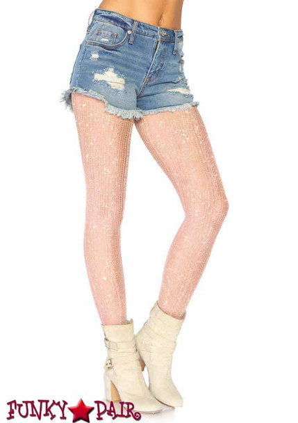 LA-7953, Crocheted Stripe Lurex Shimmer Tights