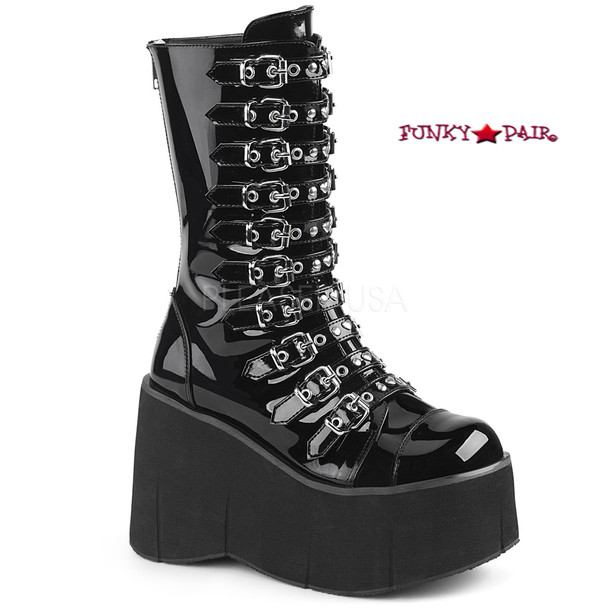 Kera-50, 4.5 Inch Platform Strappy Mid Calf Boots color black patent
