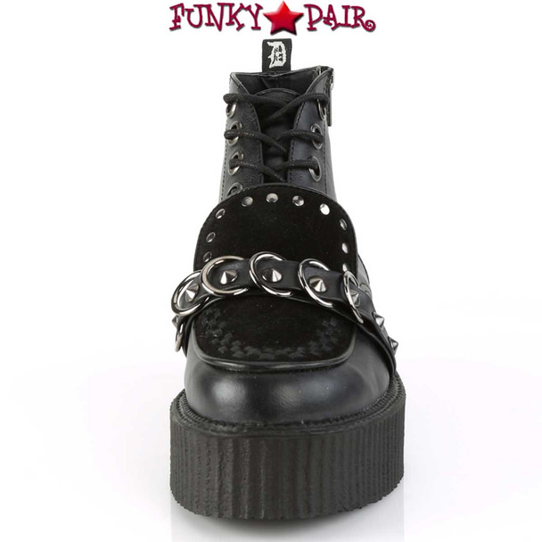Demonia | Men's V-Creeper-555, High-Top Platform Oxford with Stud and O-Ring Detail