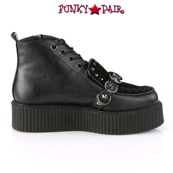 Men's High-Top V-Creeper-555 With Stud and O-Rings Detail by Demonia Shoes Inner Side View