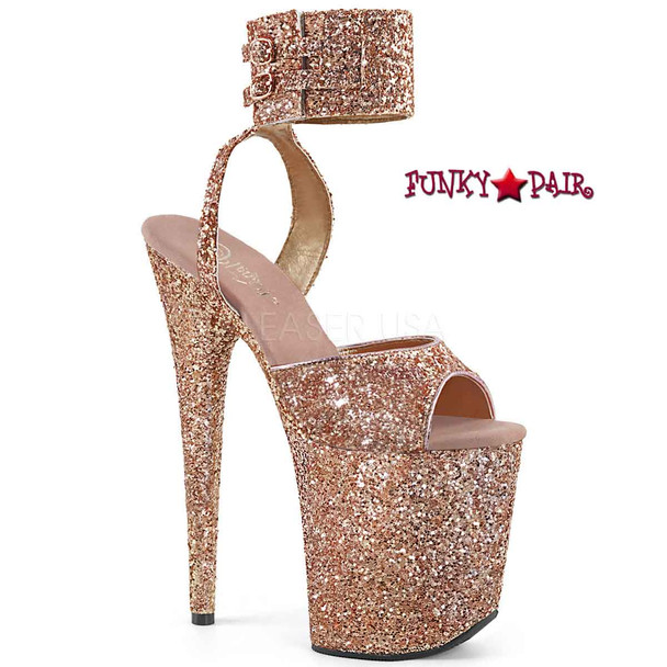 Pleaser | Flamingo-891LG, Wide Ankle Rose Gold Glitter Ankle Strap Platform Sandal