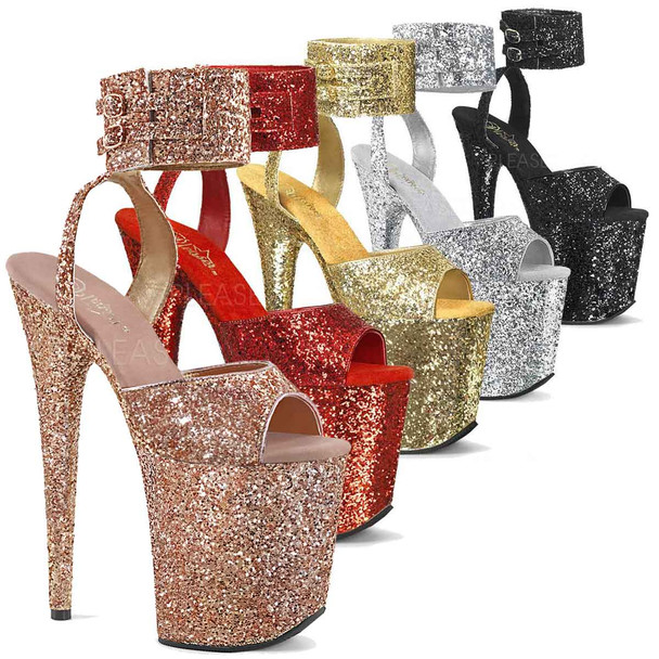 Pleaser | Flamingo-891LG, Wide Ankle Glitter Ankle Strap Platform Sandal color available: Rose Gold, Red, Gold, Silver, Black