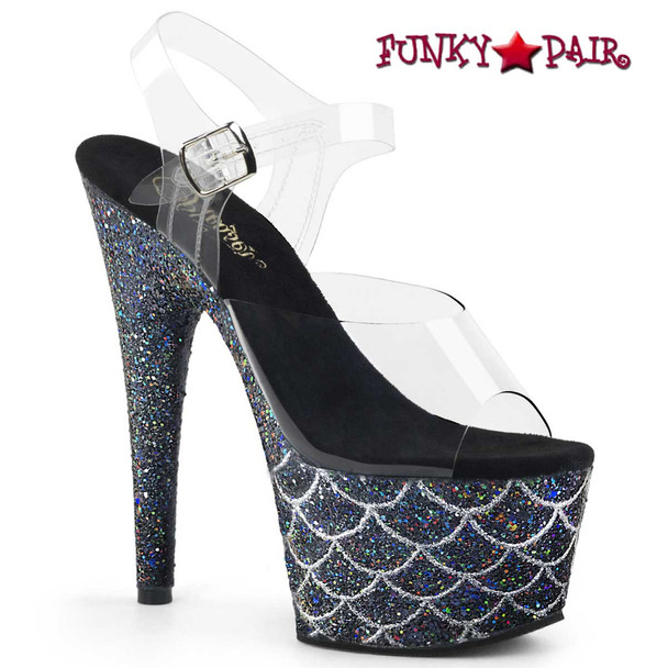 "Adore-708MSLG, 7"" Heel Black Glitter Mermaid Scale on Platform by Pleaser"