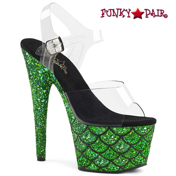 "Adore-708MSLG, 7"" Heel Green Glitter Mermaid Scale on Platform by Pleaser"