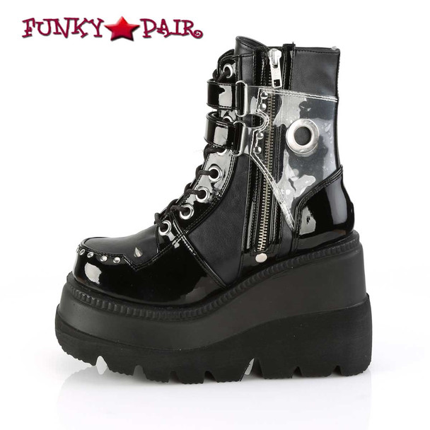 Zipper Side View Shaker-57, 4.5 Inch Wedge Lace Up Ankle Boots women's demonia boots