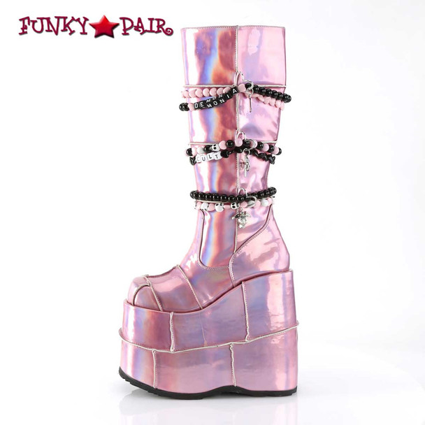 Demonia Slay-301, Gothic Punk Patch Design Boots side view