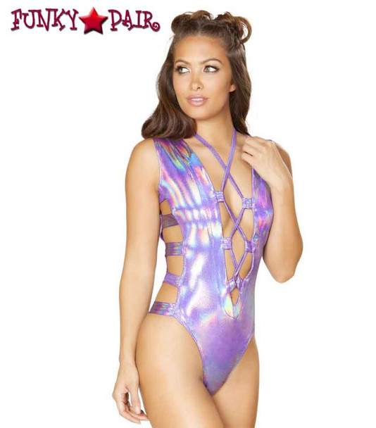 Roma | R-3561, Strappy and Lace-up Romper Color Purple front view