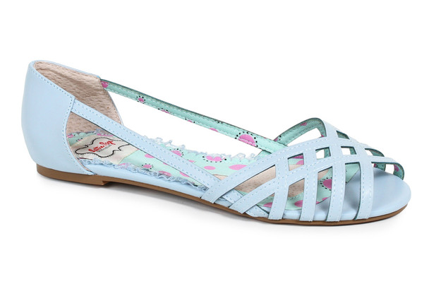BP100-Carren, Criss Cross Flat Sandal color blue