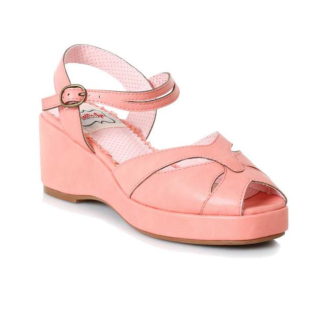 Bettie Page | BP242-Niley, Peep Toe Wedge Sandal  color pink