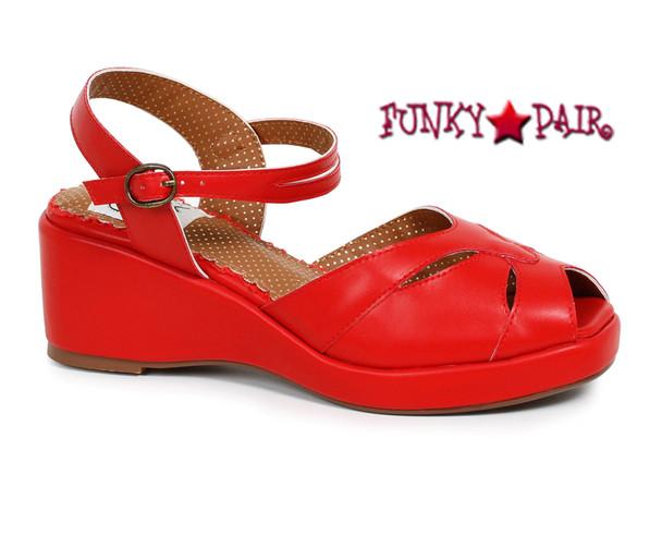 BP242-Niley, 2 Inch Peep Toe Wedge Sandal color red