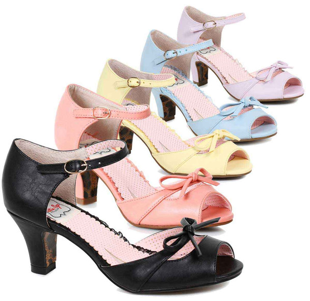 Bettie Page Shoes | BP250-Tegan, Peep Toe Sandal with Bow