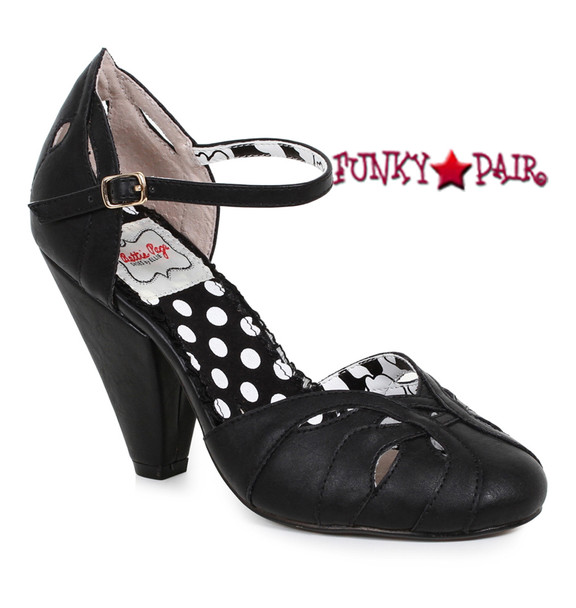 BP403-Sally, 4 Inch Chunky Heel Ankle Strap Sandal color Black