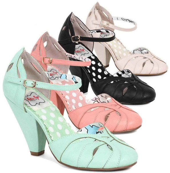 Bettie Page | BP403-Sally, Chunky Heel Ankle Strap Sandal color available: Teal, Nude, Black