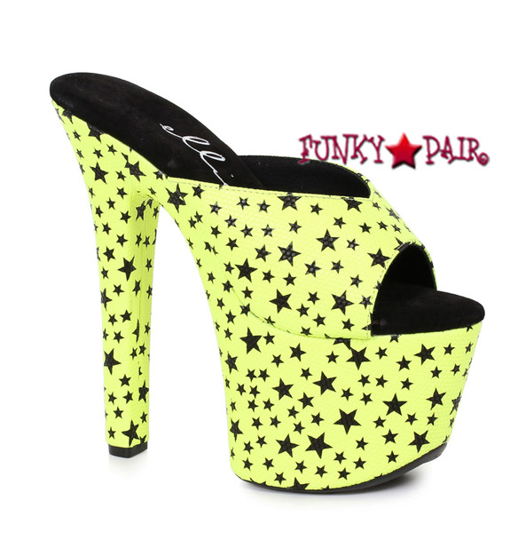 Ellie Hooker Shoes 711-Glaze, 7 Inch Slide with Star Print Color Yellow