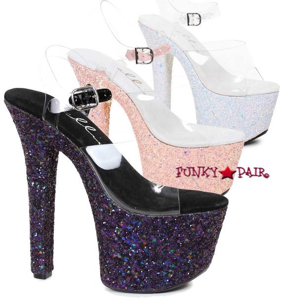 """Ellie Shoes   711-Serenity 7"""" Exotic Dancer Glitter Platform"""