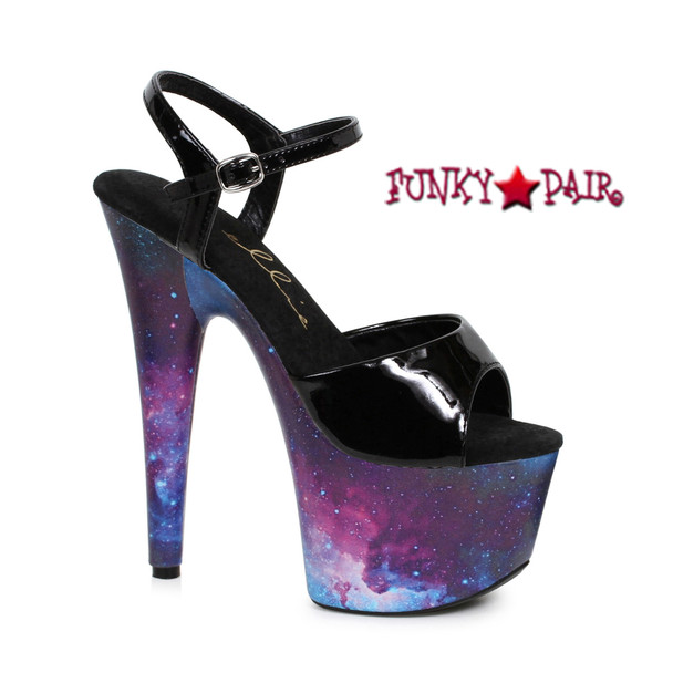 709-Orion, 7 Inch Stiletto Heel Ankle Strap Sandal with Cosmo Print   Funkypair.com