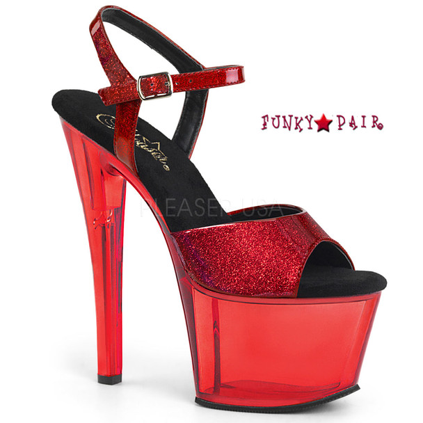 Sky-309GPT, Glitter Strap with Tinted Platform Sandal Color Red Glitter Pat/Red Tinted