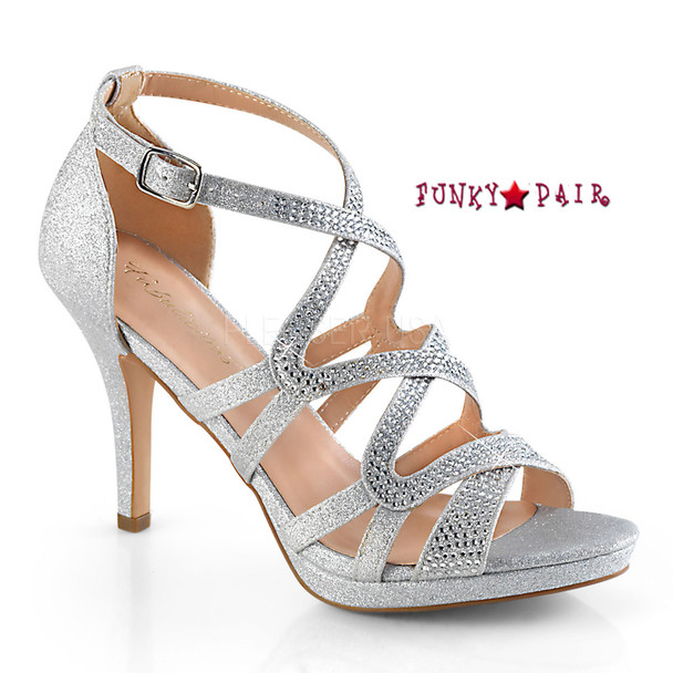 Daphne-42, Strappy Criss-Cross Sandal Color Slv Shimmering Fabric