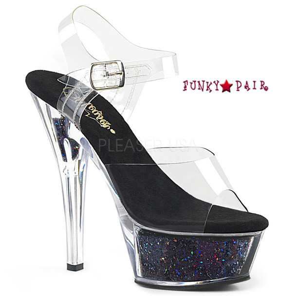 Kiss-208GF, Holographic Glitter Filled Platform Sandal Color Clr/Blk Multi Glitter