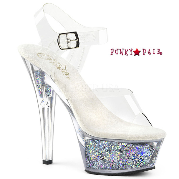 Kiss-208GF, Holographic Glitter Filled Platform Sandal Color Clr/Slv Multi Glitter
