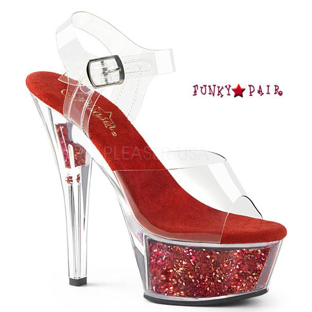 Kiss-208GF, Holographic Glitter Filled Platform Sandal Color Clr/Red Glitter