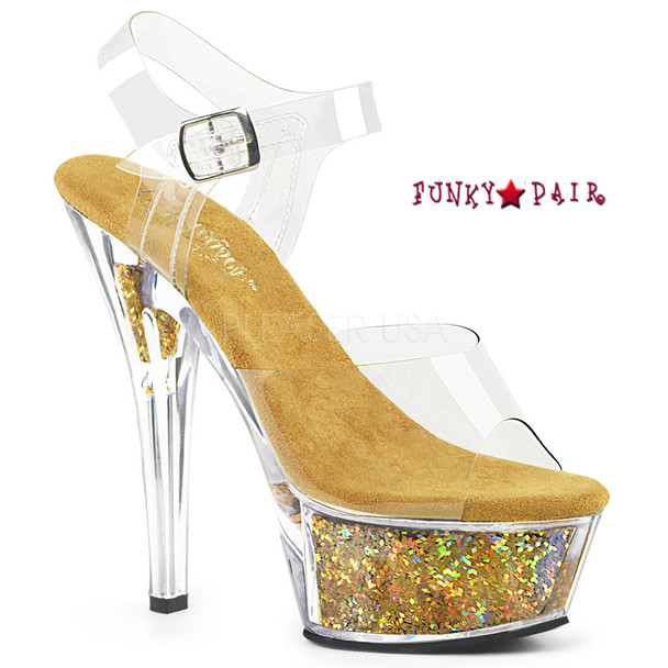 Kiss-208GF, Holographic Glitter Filled Platform Sandal Color Clr/Gold Multi Glitter